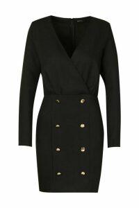 Womens Collarless Blazer Dress With Button Detail - black - 12, Black