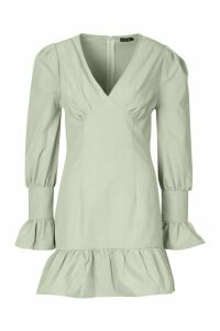 Womens Ruffle Detail Plunge Smock Dress - Green - 16, Green