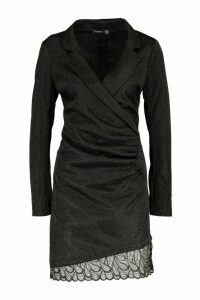 Womens Structured Glitter Lace Trim Dress - black - 12, Black