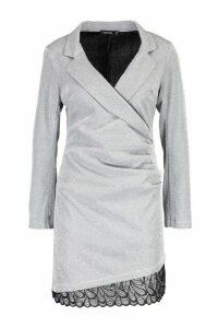 Womens Structured Glitter Lace Trim Dress - grey - 14, Grey