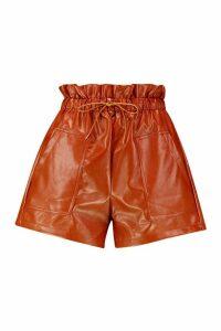Womens Pu Paper Bag Shorts - Brown - 14, Brown