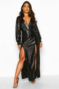 Womens Sequin Wrap Double Split Maxi Dress - black - 12, Black