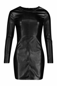 Womens PU Long Sleeve Mini Dress - black - 10, Black