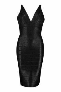 Womens Boutique Plunge Wet Look Bandage Midi Dress - black - 14, Black