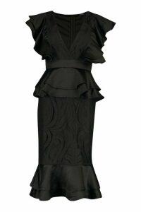 Womens Extreme Ruffle Lace Peplum Midi Dress - black - 14, Black