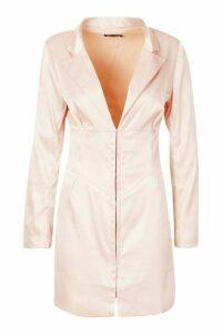 Womens Satin Corset Detail Blazer Dress - Pink - 12, Pink