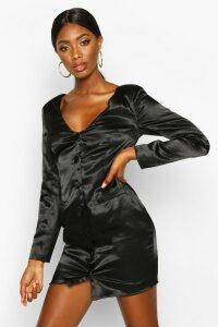 Womens Satin Off The Shoulder Button Detail Blazer Dress - black - 14, Black