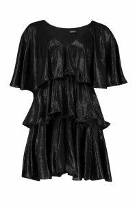 Womens Plunge Tierred Metallic Skater Dress - black - 14, Black