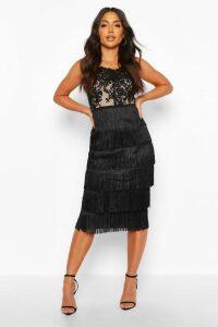 Womens Sequin Lace Tassel Detail Midi Dress - black - 10, Black
