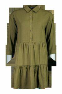Womens Woven Tierred Utility Shirt Smock Dress - green - 8, Green
