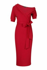 Womens One Shoulder Puff Sleeve Wrap Midi Dress - red - 8, Red