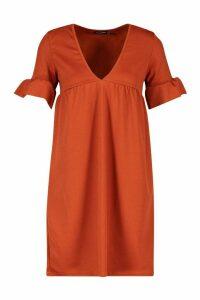 Womens Ruffle V Neck Smock Dress - orange - 12, Orange