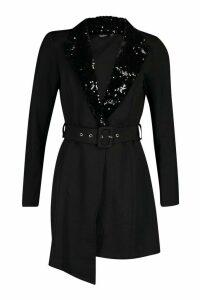 Womens Self Belt Sequin Collar Blazer Dress - black - 12, Black