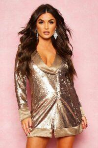 Womens Matte Sequin Wrap Blazer Dress - metallics - 14, Metallics