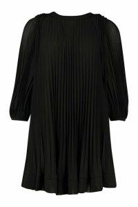 Womens Pleated Swing Dress - black - 12, Black