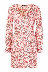 Womens Ditsy Woven V Neck Button Skater Dress - white - 16, White