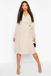 Womens Wrap Split Midi Dress - Beige - 16, Beige