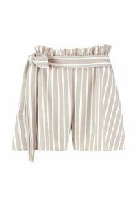 Womens Tonal Stripe Paperbag Waist Shorts - Beige - 14, Beige