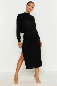 Womens High Neck Ribbed Top & Midi Skirt Co-Ord Set - Black - 8, Black