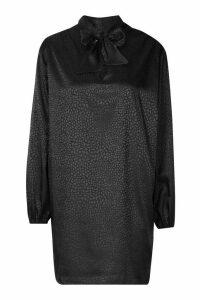 Womens Pussy Bow Jacquard Shift Dress - black - 8, Black