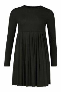 Womens Long Sleeve Pleated Smock Dress - black - 10, Black