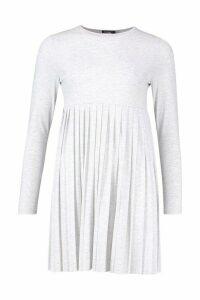 Womens Long Sleeve Pleated Smock Dress - grey - 16, Grey