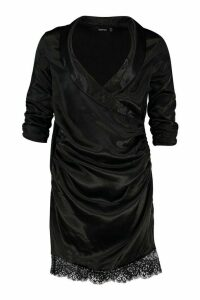 Womens Satin Lace Trim Shirt Dress - black - 12, Black