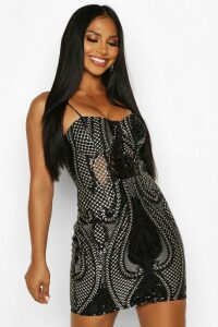 Womens Sequin Lace Mesh Cupped Midi Dress - Black - 6, Black