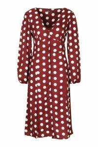 Womens Polka Dot Split Front Woven Midi Dress - red - 10, Red