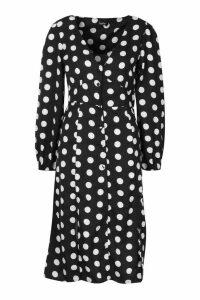 Womens Polka Dot Split Front Woven Midi Dress - black - 14, Black