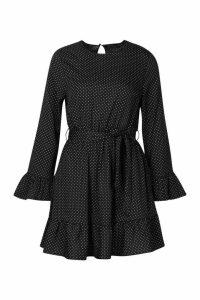 Womens Woven Spot Ruffle Skater Dress - black - 8, Black