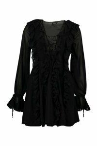 Womens Mesh Extreme Ruffle Tie Front Skater Dress - black - 10, Black