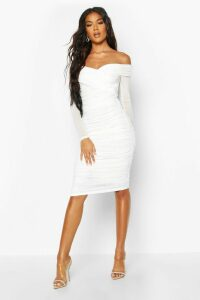 Womens Off Shoulder Ruched Mesh Bodycon Midi Dress - white - 18, White