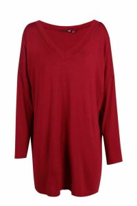 Womens Tall Oversized Long Sleeve Top - red - 16, Red