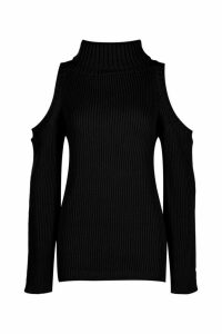 Womens Tall High Neck Cold Shoulder Jumper - black - 14, Black