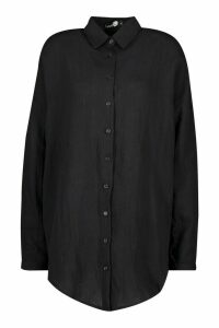Womens Tall Linen Look Oversized Shirt - black - S, Black