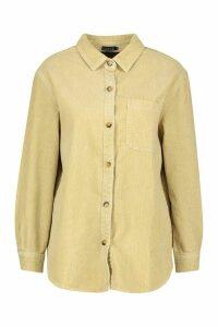 Womens Longline Cord Boyfriend Shirt - cream - 12, Cream