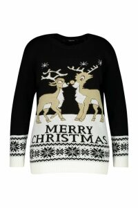 Womens Plus Reindeers Christmas Jumper - black - 20-22, Black
