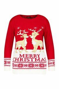 Womens Plus Reindeers Christmas Jumper - red - 20-22, Red
