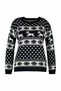 Womens Plus Snowflake and Reindeer Christmas Jumper - navy - 20-22, Navy
