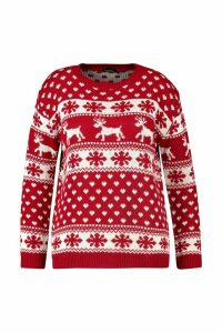 Womens Plus Snowflake and Reindeer Christmas Jumper - red - 20-22, Red