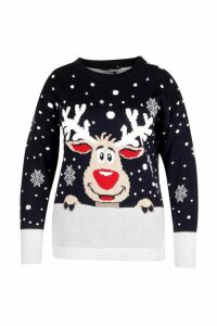 Womens Plus Reindeer Snowflake Christmas Jumper - navy - 16-18, Navy