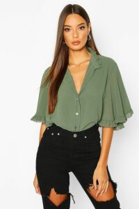 Womens Woven Ruffle angel Sleeve Blouse - green - 6, Green