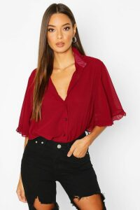Womens Woven Ruffle Angel Sleeve Blouse - Red - 10, Red