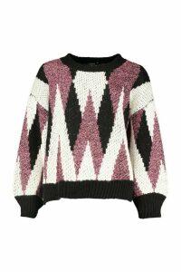 Womens Premium Metallic Tinsel Knitted Jumper - black - M/L, Black