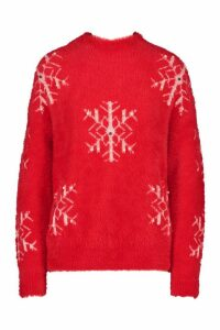 Womens Premium Snowflake Fluffy Christmas Jumper - red - L, Red