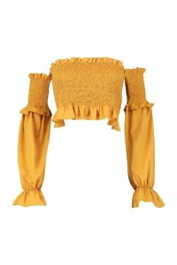 Womens Shirred Ruffle Hem Bardot Top - yellow - 12, Yellow