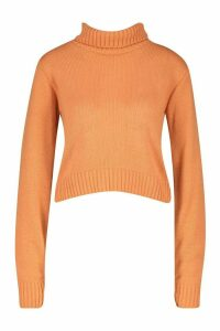 Womens Petite Roll Neck Crop Jumper - orange - S, Orange