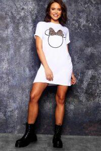 Womens Disney Minnie Leopard Bow Tshirt Dress - White - 20, White