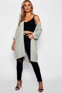 Womens Plus Cocoon Oversized Rib Knit Cardigan - grey - 18, Grey
